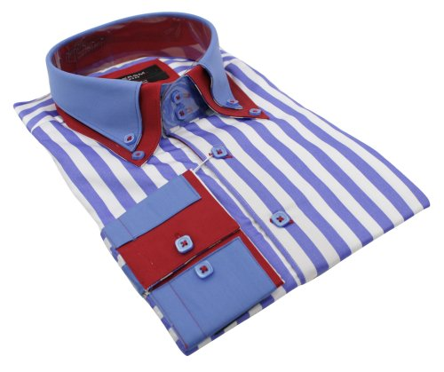 Mens Italian Double Collar Stripe Blue Red & White Shirt Slim Fit Smart or Casual 100% Cotton
