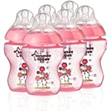 Tommee Tippee Closer to Nature 260 ml/9fl oz Decorated Feeding Bottles (Pink/6-pack)