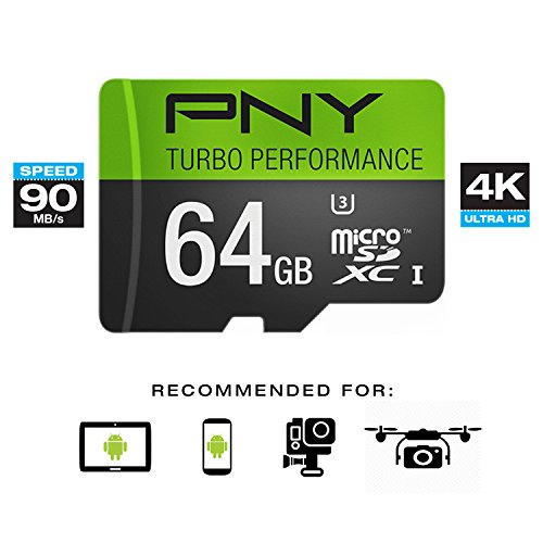 PNY U3 Turbo Performance 64GB High Speed MicroSDXC Class 10 UHS-I, up to 90MB/sec Flash Card (P-SDUX64U390G-GE)