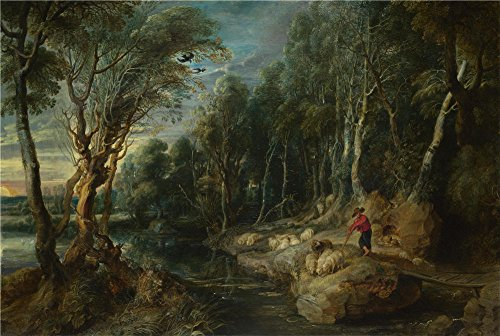 Oil Painting 'Peter Paul Rubens-A Shepherd With His Flock In A Woody Landscape,1615-1622' 16 x 24 inch / 41 x 61 cm , on High Definition HD canvas prints, gifts for Hallway, Home Theater And K decor (Frying Pan Sorter Black compare prices)