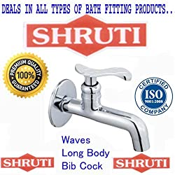 SHRUTI (Shippo) Waves Model Long Body BibCock / Taps With Wall Flange , Brass Taps Made By 100% Brass Honey Heavy Duty -WA102
