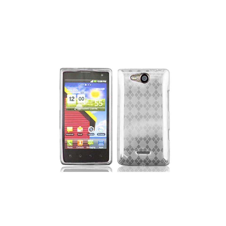 LG Lucid / Cayman / VS840 Soft TPU Gel Silicone Skin Case   Clear Check