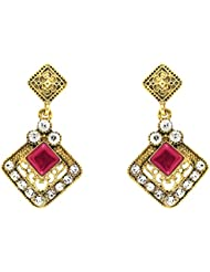 Donna Fashion Pink Square Kite Gold Plated Dangler Earrings With Crystals For Women ER30091G