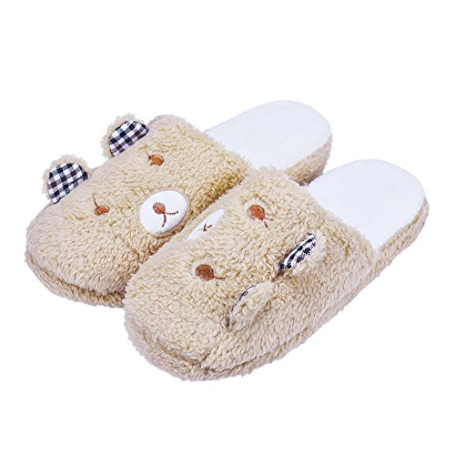 Inverno Pantofole,Xinantime Donna Bella Orso Piano Casa Morbido Cotone Imbottito Pantofole Scarpe (38, marrone)
