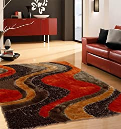 Brown with Orange Shaggy Indoor Area Rug, Hand-tufted Measuring at 5\' ft. x 7\' ft.