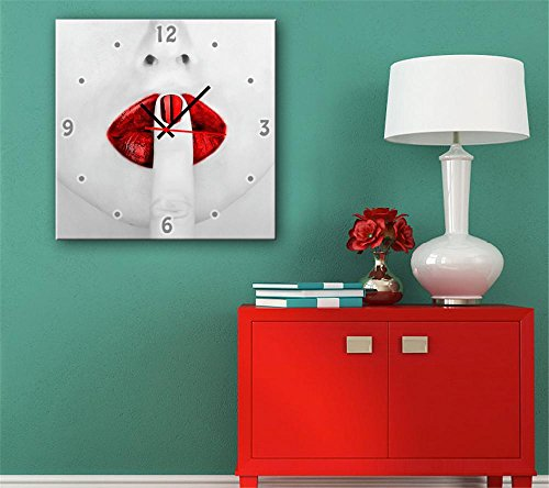 gyn-creative-lips-continental-flaming-horloge-decorative-peinture-peinture-decorative-giclee-toiles-