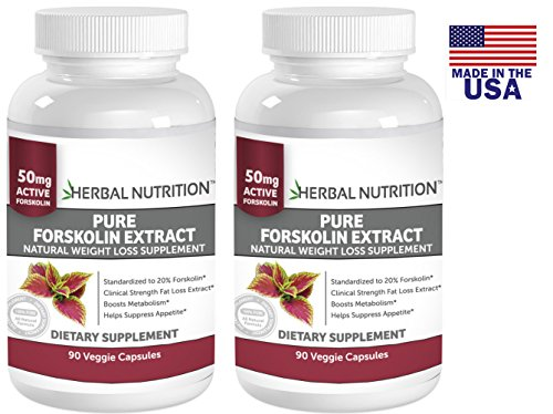 #1 Rated Pure Forskolin Extract|Two Bottle Pack!|Pure Coleus Forskohlii Root Standardized To 20% For Weight Loss|90 Capsules Per Bottle|250Mg Yielding 50 Mg Of Active Forskolin Per Serving|Free Shipping!