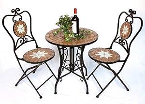 sitzgruppe merano 12001 2 gartentisch 2 stk gartenstuhl aus metall mosaik tisch. Black Bedroom Furniture Sets. Home Design Ideas