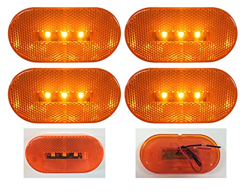 """4 New 4""""X2"""" Oblong Amber Led Surface Mount Clearance Marker Lights El-114303A2"""