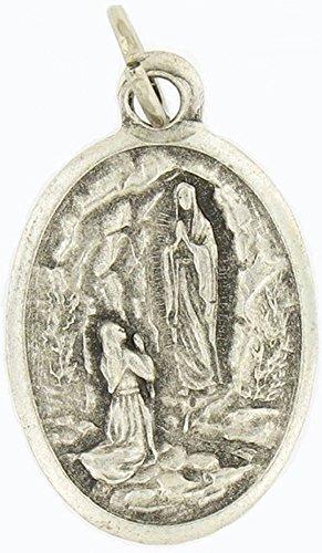 "St. Bernadette / Our Lady of Lourdes Medal Medal Pray for Us 20"" Steel Chain"
