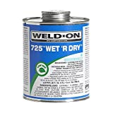 Weldon 10167 Aqua Blue 725 Medium-Bodied Wet 'R Dry Pvc Professional Industrial-Grade Cement Extremely Fast-Setting Low-Voc, 1/2 pint, Aqua Blue
