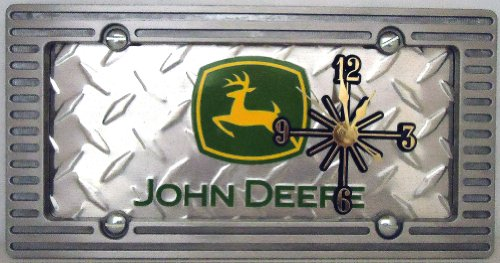 Tractor Clock, On A John Deere Diamond Metal Sign, With A Alloy Brushed Aluminum Border, 27B2.0&27B4.0