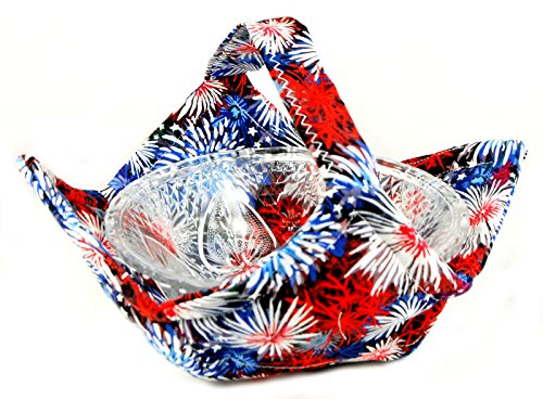 Fabric Microwave Bowl With Handle - Handmade In The Usa - Fireworks, Red White And Blue