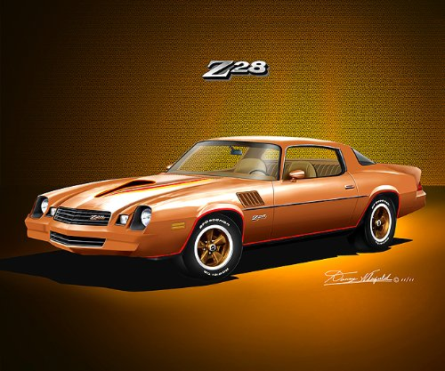 1978-1979 CAMARO Z28 CAMEL TAN - ART PRINT POSTER BY ARTIST DANNY WHITFIELD- size 20 X 24 (1978 Camaro Posters compare prices)