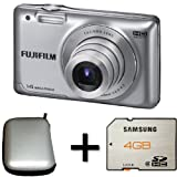 Fujifilm FinePix JX500 Silver + 4GB Memory Card and Case (14MP, 5x Optical Zoom) 2.7 inch LCD