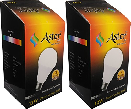 Aster-12W-B22-6500k-LED-Bulb-(Pack-Of-2,-Cool-Day-Light)