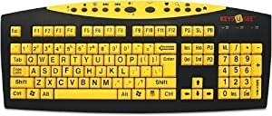 AbleNet Keys U See Print USB Wired Keyboard, Yellow Keys