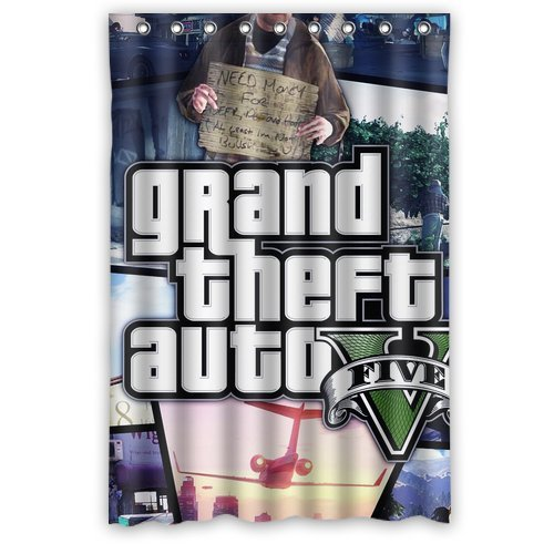 "Special Design Grand Theft Auto Waterproof Bathroom Fabric Shower Curtain 48"" x 72"""