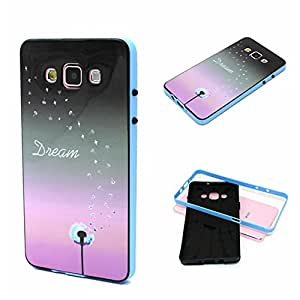 Galaxy A7 Case, Wandeneng Hybrid Fancy Colorful Pattern Hard Soft Silico0ne Bumper Case Fit for Samsung Galaxy A7 Early 2015 Model (Dandelion)