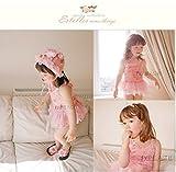 バレリーナ チュチュ 風 子供 水着  セット キャップ ビニール バッグ 付き 妖精 女の子 ピンク オリジナル 90~130