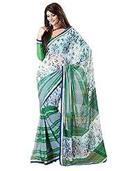 Indian Designer Sari Fashionable Stripes Printed Faux Georgette Saree By Triveni