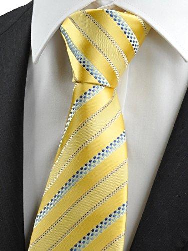 KissTies Men's Necktie Yellow Striped Tie (Men Ties Yellow compare prices)