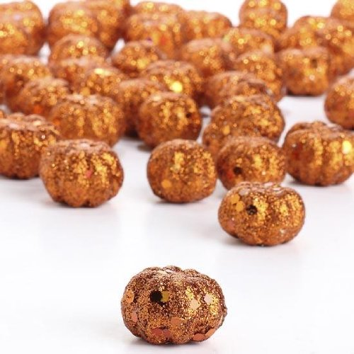 Factory Direct Craft® Package of 60 Miniature Glitzy Glittered Pumpkins for Fall and Autumn Crafting and Designing