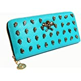 Damen Leder Geldbörse Portemonnaie Geldtasche Damen Geldbeutel Skelett Börse Handytasche 21x10x3cm (B x H x T)