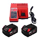 2-Packs Replacement for Milwaukee 18V Batteries and Lithium-ion Battery Charger