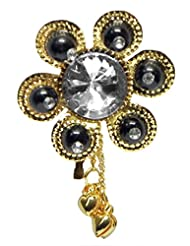 DollsofIndia Black Bead With White Stone Golden Color Metal Flower Shaped Hair Pin - Metal - Black