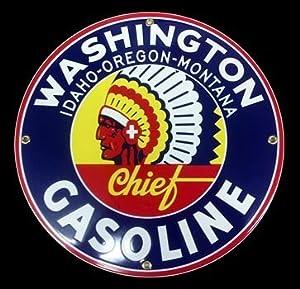 Amazon.com: Washington Chief Gasoline Porcelain Sign: Home & Kitchen