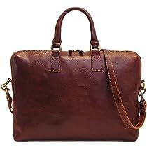 Floto Milano Slim Brown Briefcase Attache Lap-top Case