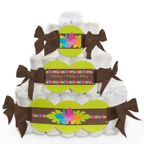 Baby Diaper Cake - Luau - 3 Tier back-729043