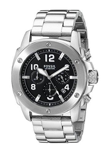 Fossil FS4926 - Reloj para hombres, correa de acero inoxidable color plateado