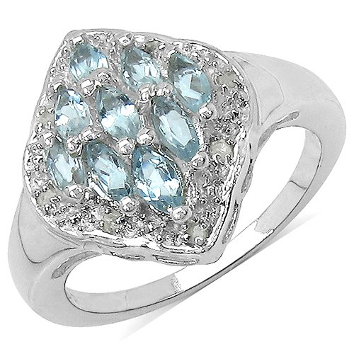The Blue Topaz Ring Collection: Ladies Sterling Silver Blue Topaz & Diamond Engagement Ring with 0.67 Carats Genuine Blue Topaz & 8 Diamonds (Size Q). Comes in a Quality Ring Case for that Special Gift.
