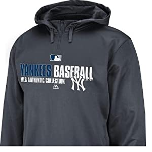 MLB New York Yankees Majestic Team Favorite Charcoal Gray 1 4 Zip Hoodie Mens XL by Majestic