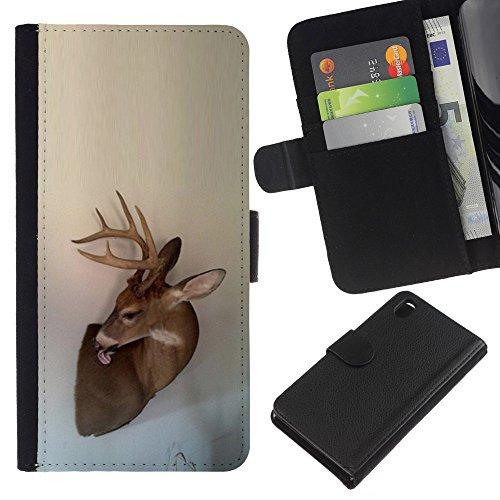 Antlers Beige Natura Primavera animale - Portafoglio in pelle della Carta di Credito fessure PU Holster Cover in pelle case Per Sony Xperia Z3 D6603