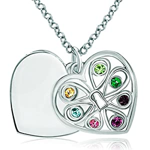 Pugster 925 Sterling Silver Multicolor Swarovski Elements Crystal Personalized Gifts Four Leaf Clover Open Heart Love Engraved Pendant Necklace