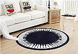 CHENGYANG-Tapis-Maison-Rond-Cl-Piano-Noir-et-Blanc-Tapis-de-cuisine-et-lavable-Anti-drapant-carpette-Tapis-de-salon-Noir-120cm-x-120cm