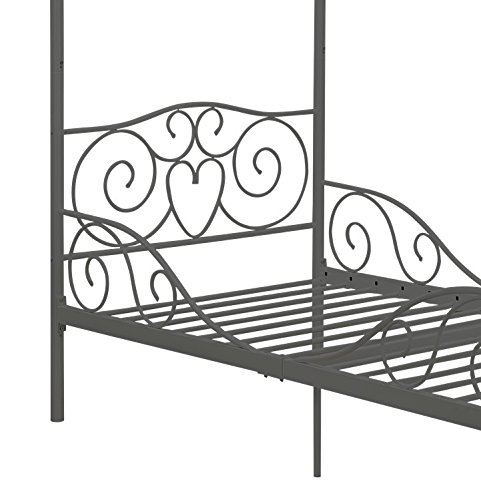 Dhp Canopy Metal Bed Twin Silver Furniture Beds