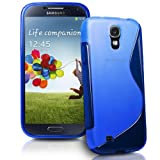 Connect Zone® Samsung Galaxy S4 i9500 S line Silicone Gel Case Cover + Screen Guard And Polishing Cloth (Blue)