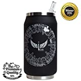 THERMOS CAN & FOOD JAR 12 oz - Vacuum Insulated Double Walled Stainless Steel Extra Wide Mouth. Unique Flip Lid with Inside Straw. Bonus: Extra Straw & Instruction Manual