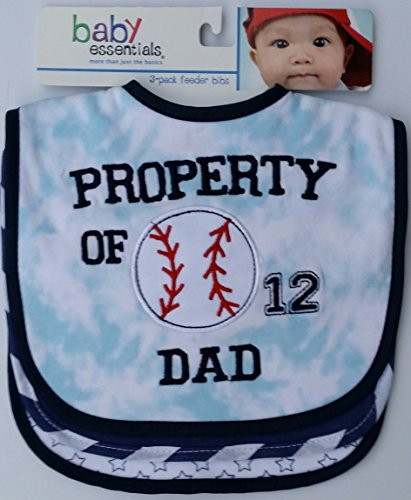 Baby Essentials 3 Pack Feeder Bibs Boy Property of Dad