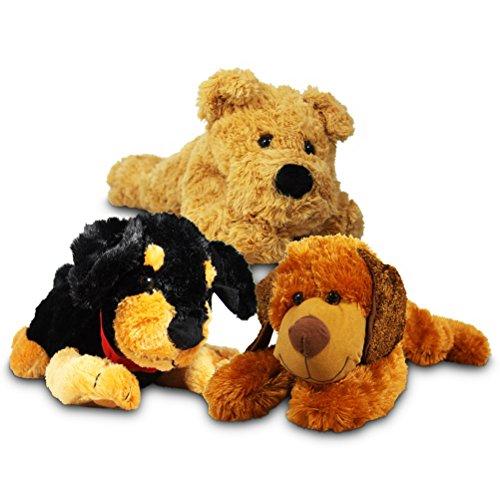 2 x Plüsch Hund liegender Plüschhund Stoffhund