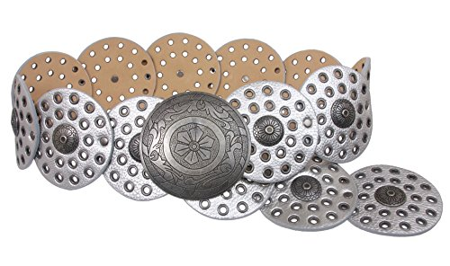 "3 1/2"" (90 mm) Wide Ladies Wide Boho Disc Concho Leather Belt Size: M - 42 END-TO-END Color: Matt Silver"