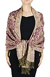 Peach Couture Double Layer Reversible Paisley Pink Pashmina Woven Shawl Wrap Scarf