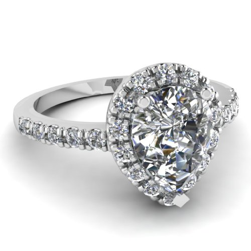 Fascinating Diamonds 0.90 Ct Pear Shaped Cut:Very Good Diamond Engagement Halo Ring Pave Set 14K Gold