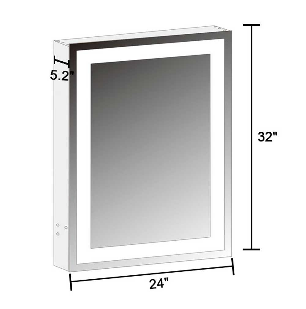 DECORAPORT 24 x 32 In. Vertical LED Lighted Mirror Cabinet Wall Mount Illuminated Medicine Cabinet with Touch Button (A-NS168)
