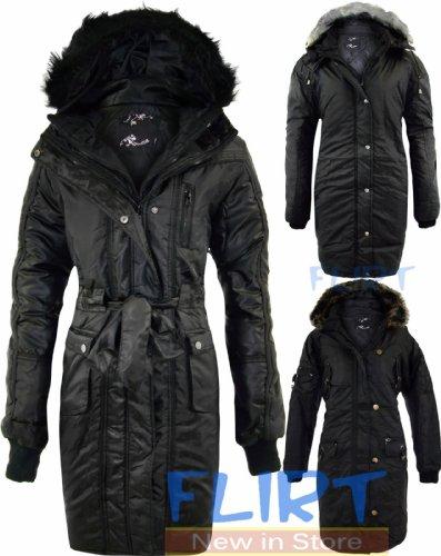 Womens Jacket Ladies Plus Size Coat Zip Up Belted Hooded Warm Winter Coats 14-26 (UK 22, 1175 BLACK)