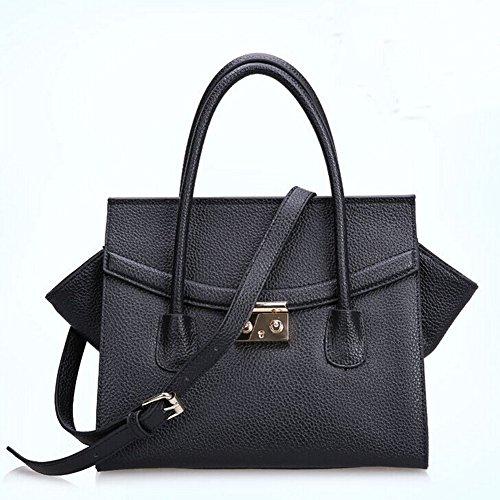 2014 New Fashion High Quality Leather Shoulder Crocodile Handbag 010484 (Black)